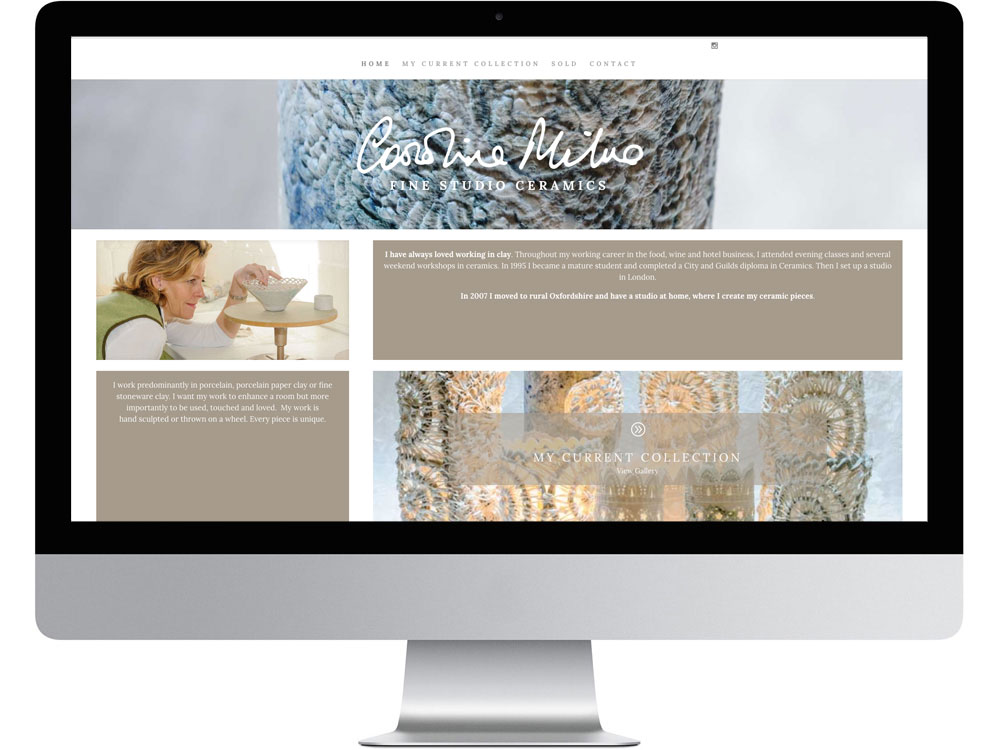 Caroline Milne ceramics WordPress website in Wantage