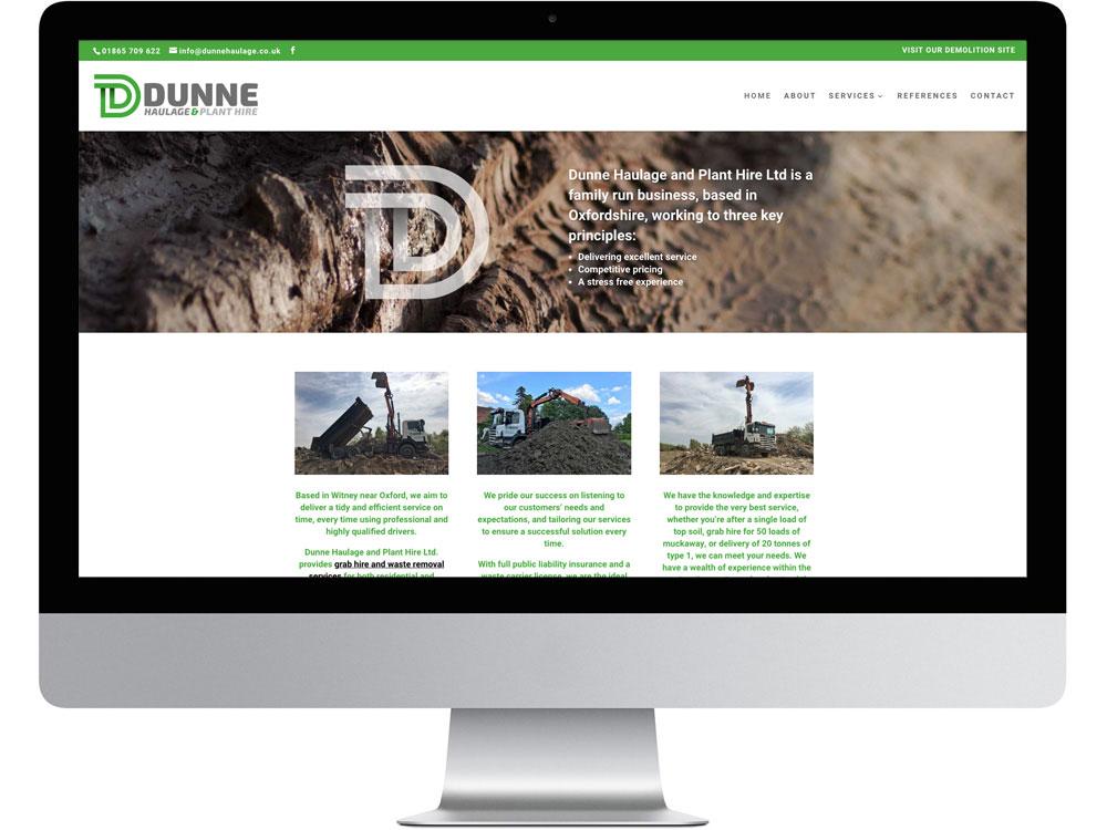 Dunne haulage web design Oxfordshire